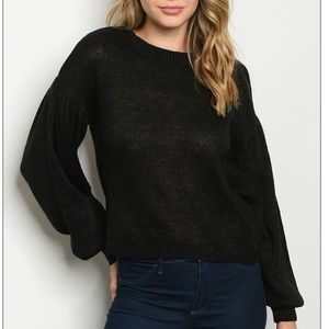 Black scoop neck light knit tunic sweater top.